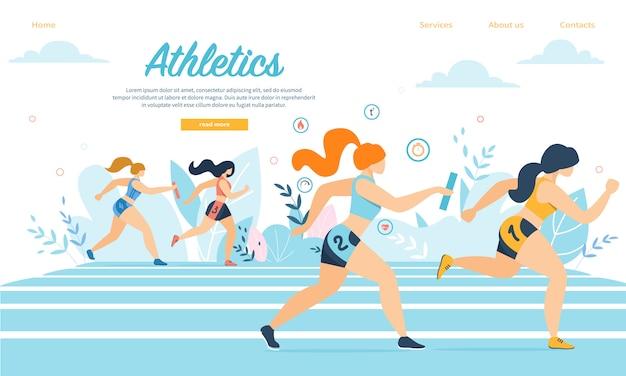 Jovens atletas de atletismo participam na corrida de revezamento correndo no estádio com varas Vetor Premium