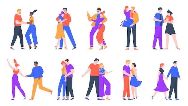 Jovens casais românticos apaixonados. feliz namorado e namorada encontro romântico. dançando, tirando selfies e decidimos casar conjunto de ilustração de casais Vetor Premium