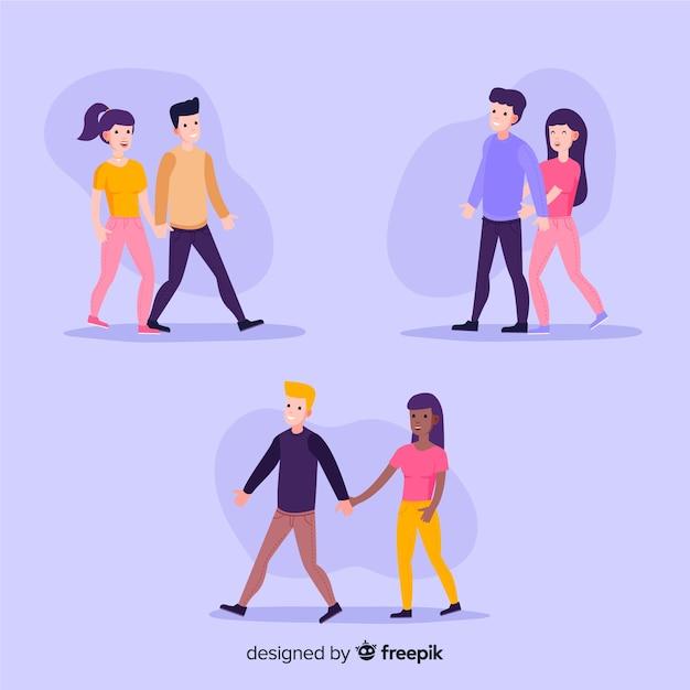 Jovens casais românticos caminhando juntos Vetor grátis
