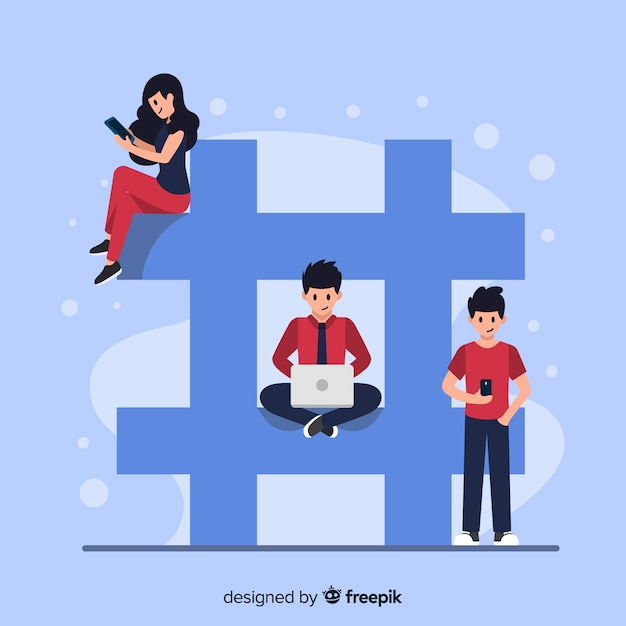 Jovens, com, hashtag, símbolo Vetor grátis