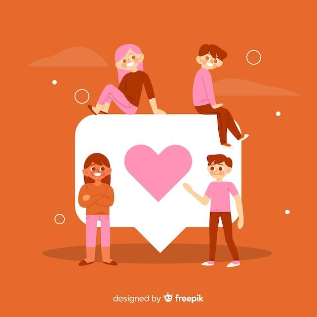 Jovens, com, vermelho, coração, símbolo Vetor grátis