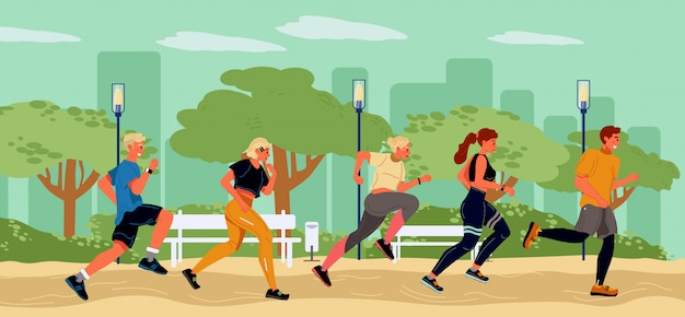 Jovens corredores, passar o tempo no parque de verão. estilo de vida saudável, ativo e esportivo, maratona. estudante, garota, caras correndo na fila. preparação para a temporada de praia. objetivo de entrar em forma. ilustração em vetor plana Vetor Premium