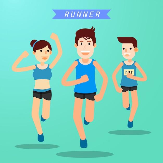 Jovens correndo e treinando para o esporte de maratona Vetor Premium
