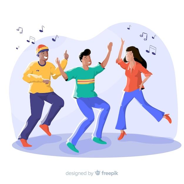Jovens dançando. design de personagem Vetor grátis