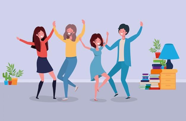 Jovens, dançar, em, a, livingroom Vetor grátis