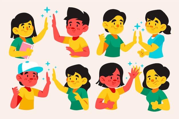 Jovens dando alta conjunto de cinco ilustrações Vetor grátis