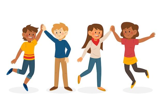 Jovens dando alto pacote de cinco ilustrações Vetor grátis