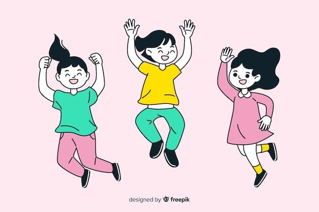 Jovens de design plano pulando Vetor grátis