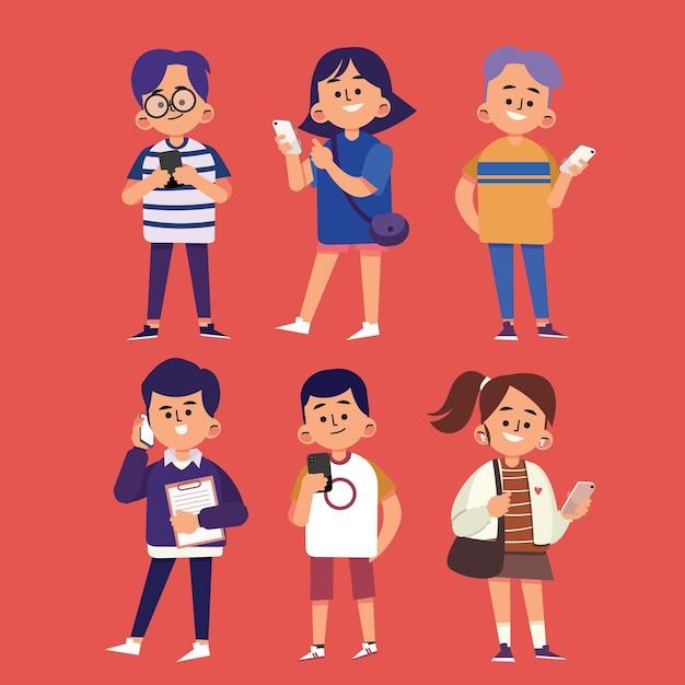 Jovens desenhados à mão plana usando ilustração de smartphones Vetor grátis