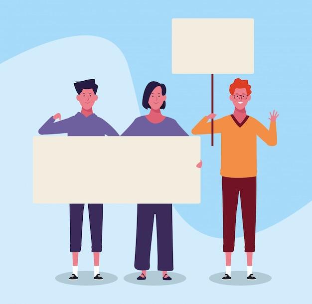 Jovens dos desenhos animados, protestando com letreiro em branco sobre fundo azul Vetor Premium
