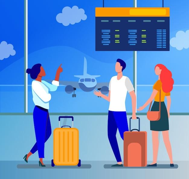 Jovens esperando no aeroporto por avião. voo, avião, ilustração vetorial plana de bagagem. viagem, viagem e férias Vetor grátis