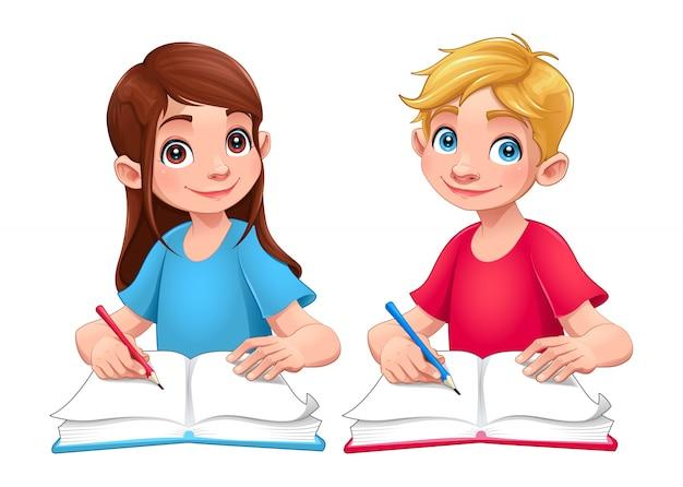 Jovens Estudantes Garoto E Menina Com Livros E Lapis Desenhos