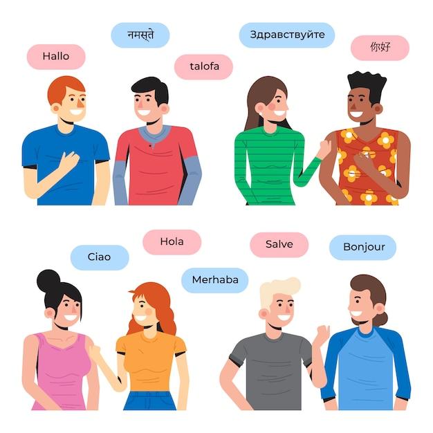 Jovens falando em diferentes idiomas Vetor grátis