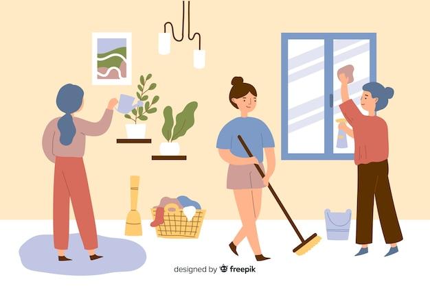 Jovens fazendo tarefas domésticas na sala de estar Vetor grátis