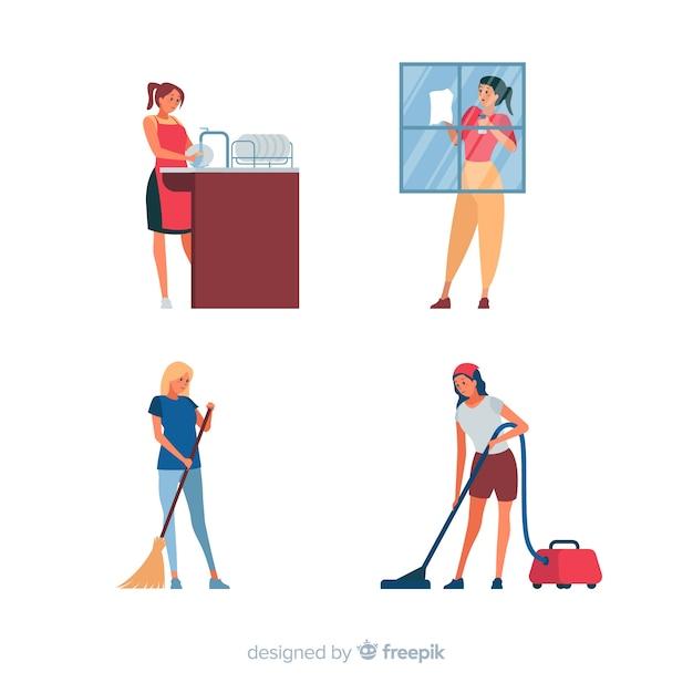 Jovens fazendo trabalhos domésticos Vetor grátis