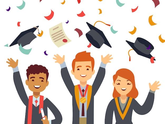 Jovens felizes graduados com tampas de graduação e confetes caindo Vetor Premium