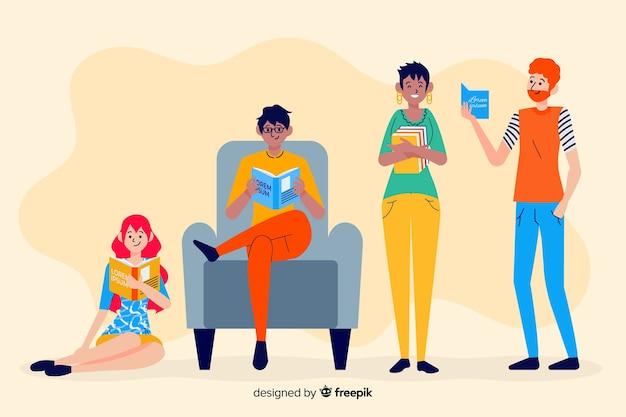 Jovens, leitura, um, colecionar livro Vetor grátis