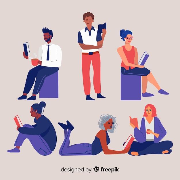 Jovens lendo e relaxando Vetor grátis