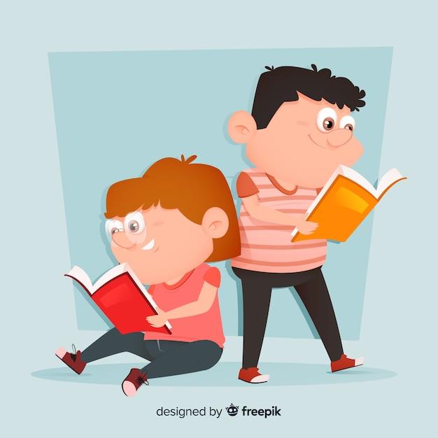 Jovens lendo e sorrindo ilustração Vetor grátis