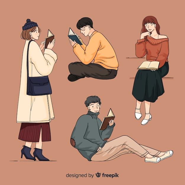 Jovens lendo no estilo de desenho coreano Vetor grátis