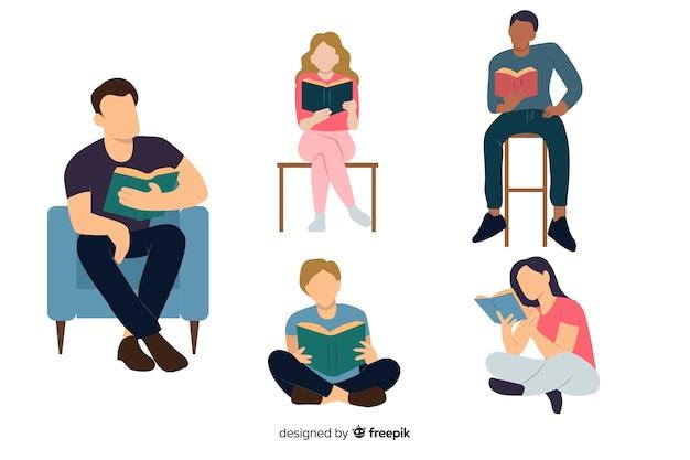 Jovens lendo um livro Vetor grátis