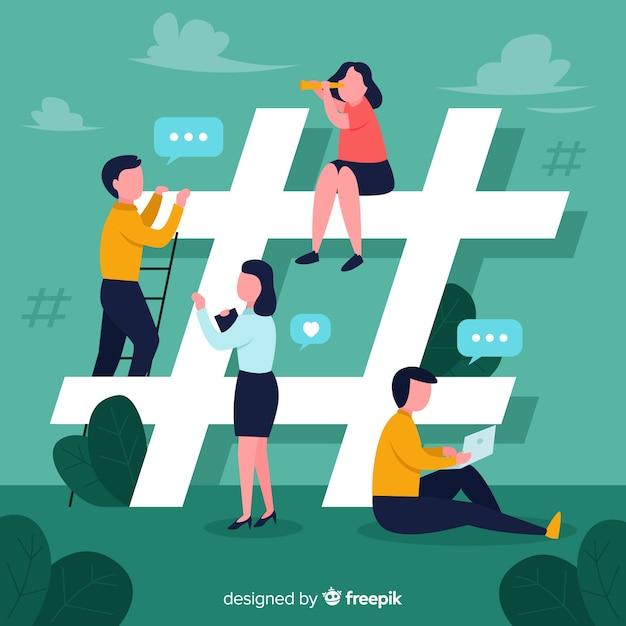 Jovens, ligado, social, mídia, fundo Vetor grátis