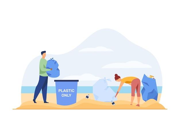 Jovens limpando a praia do lixo. ativista, eco, ilustração vetorial plana de plástico. ecologia e meio ambiente Vetor grátis