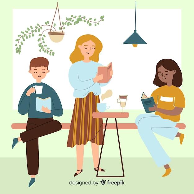 Jovens melhores amigos a passar tempo juntos ilustrados Vetor grátis