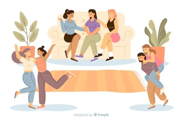 Jovens mulheres a passar tempo juntos Vetor grátis