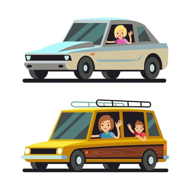 Jovens mulheres felizes dirigindo carros Vetor Premium