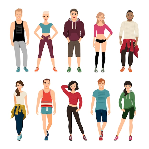 Jovens na ilustração do vetor da roupa do esporte. roupa esportiva para homens e mulheres Vetor Premium