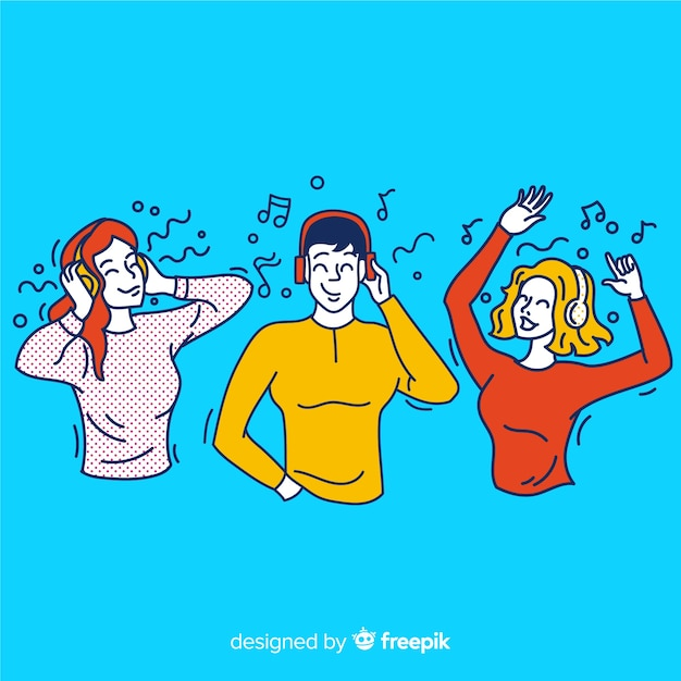 Jovens ouvindo música no estilo de desenho coreano Vetor grátis
