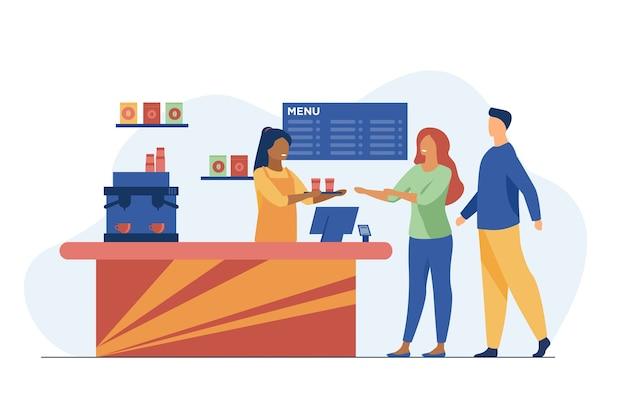 Jovens pedindo café para viagem no café. barista, bate-papo, ilustração vetorial plana de rede. bebidas quentes e serviço Vetor grátis