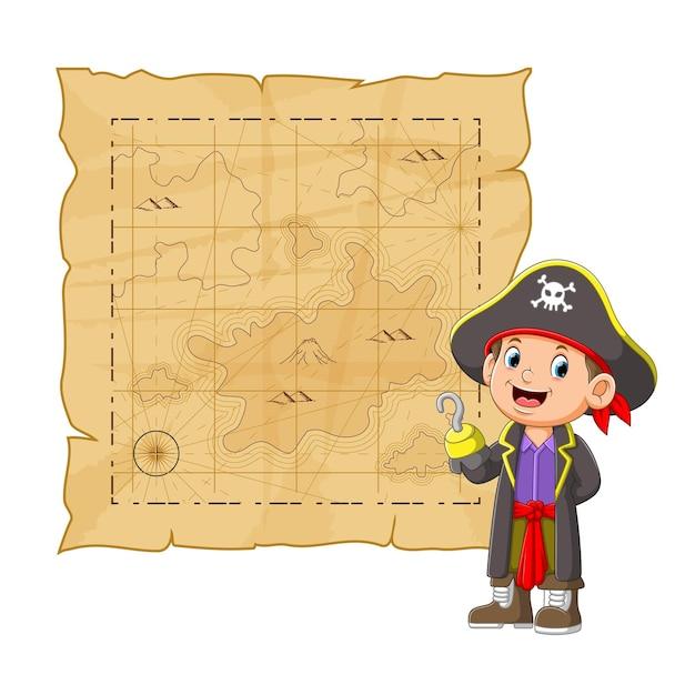 Jovens piratas com o casaco comprido apresentando a louca do tesouro da ilustração Vetor Premium