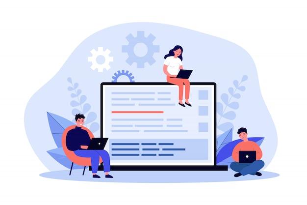Jovens programadores codificando novo script Vetor Premium