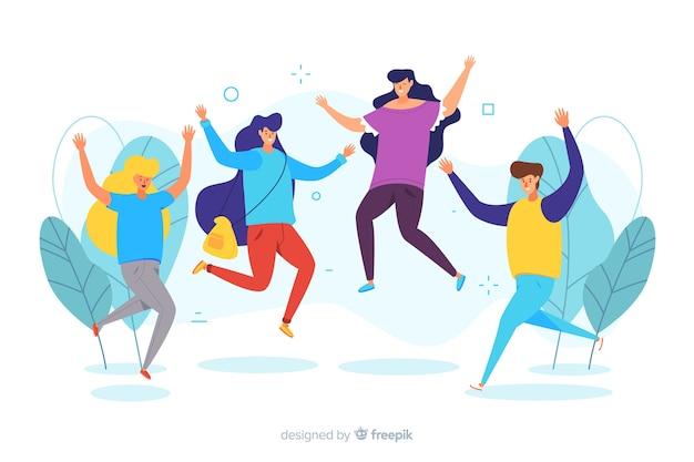 Jovens pulando e se divertindo Vetor grátis