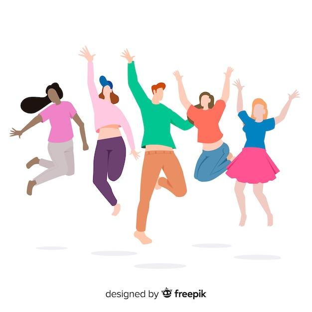 Jovens pulando no fundo branco Vetor grátis