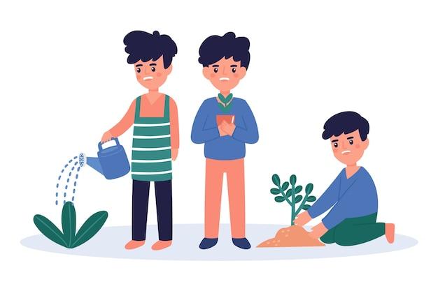 Jovens regando as plantas Vetor grátis