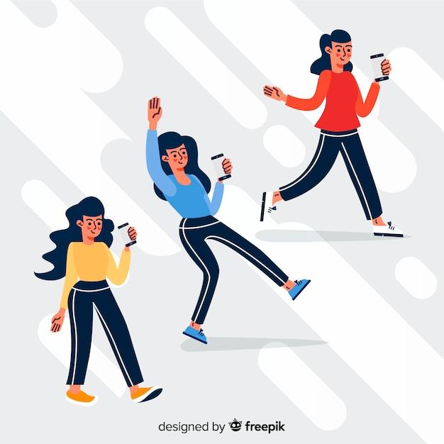 Jovens, segurando a ilustração de smartphones Vetor grátis