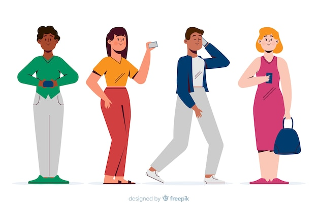 Jovens segurando seus smartphones Vetor grátis