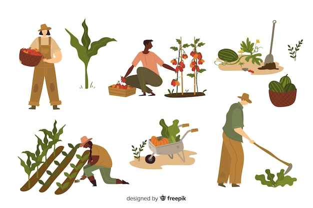 Jovens, trabalhando, em, agricultura Vetor grátis