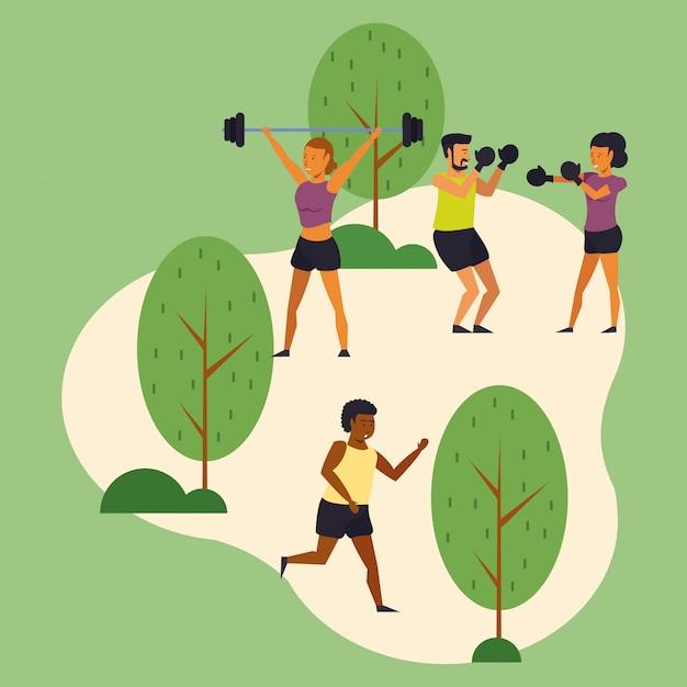 Jovens, treinamento, esportes, parque Vetor grátis