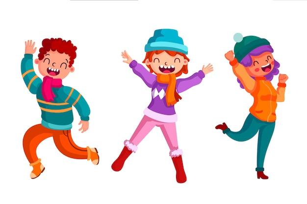 Jovens vestindo roupas de inverno pulando conjunto de ilustração Vetor grátis