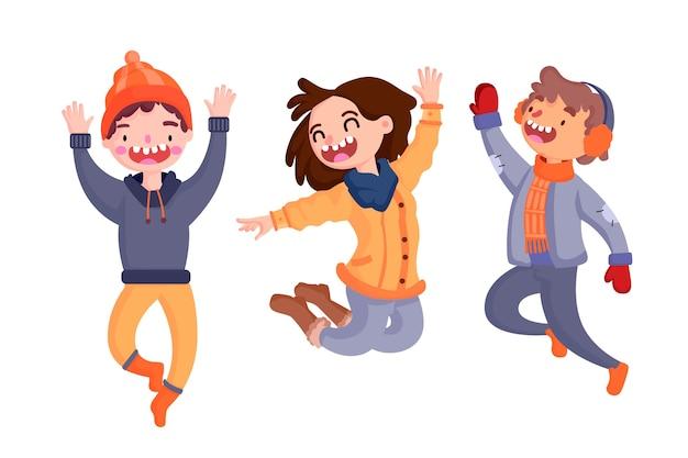 Jovens vestindo roupas de inverno pulando pacote de ilustração Vetor grátis