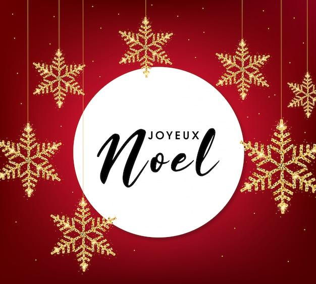 Joyeux noel cartão com flocos de neve dourados Vetor Premium