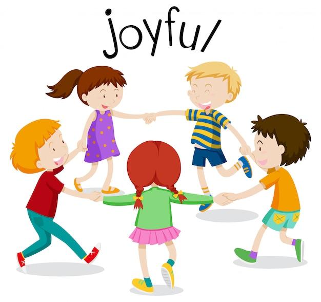 Joyful, crianças se divertindo de mãos dadas Vetor Premium