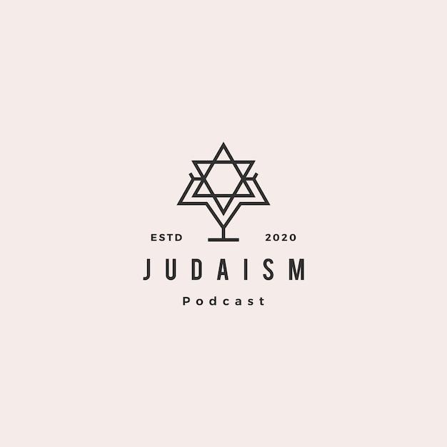 Judaísmo podcast logotipo hipster retro vintage ícone para o canal de vlog de vídeo de blog de judeus Vetor Premium