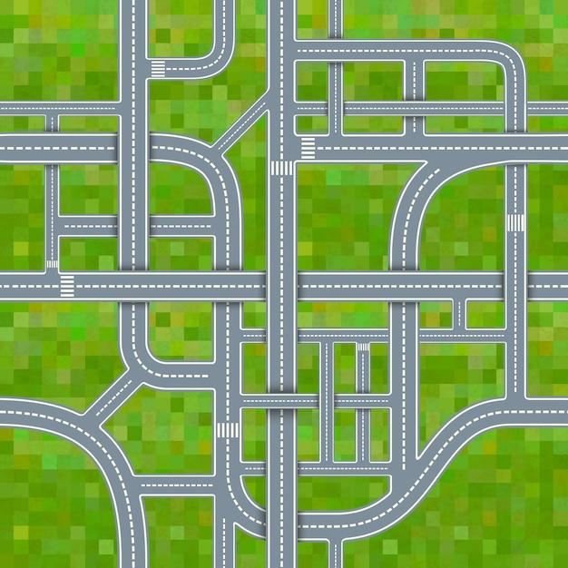 Junções de estrada no fundo da grama, padrão sem emenda Vetor Premium