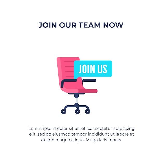 Junte-se a nós no texto com a cadeira do escritório de vagas contratação e recrutamento de empresas. apartamento simples. Vetor Premium