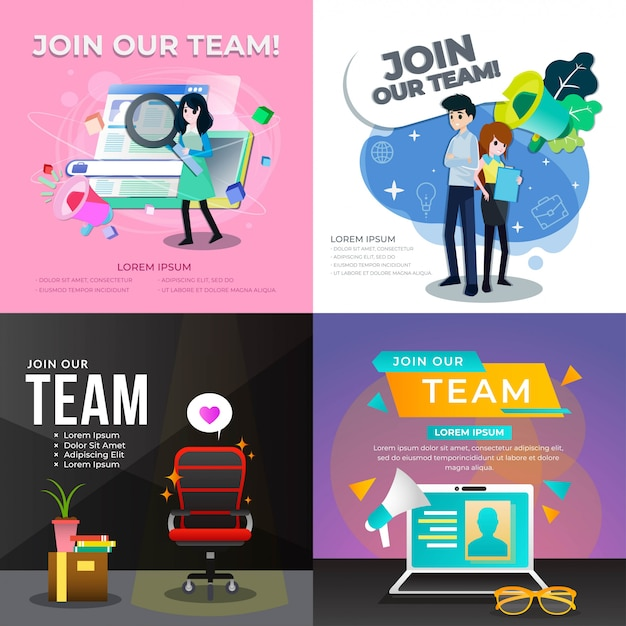 Junte-se à nossa equipe de ilustração Vetor Premium